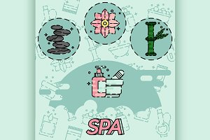SPA flat concept icons