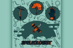 Speleologist flat concept icon