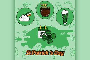 St.Patricks Day flat concept icons
