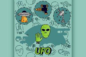UFO flat concept icon