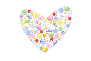 Different colorful medical pills capsules and tablets in heart. Medications collection. vector illustration in flat style.