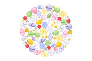 Different colorful medical pills capsules and tablets in round design. Medications collection. vector illustration in flat style.