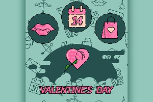 Valentines Day flat concept icons