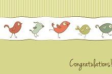 Funny birds greeting card
