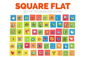 Square flat technology web icon set