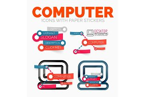 Vector diagram elements set of PC computer icons with plastic paper style stickers for text