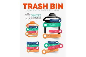 Vector diagram elements set of trash or garbage bin icons with plastic paper style stickers for text
