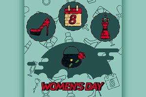 Women day flat concept icons