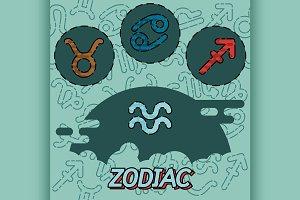 Zodiac flat concept icons