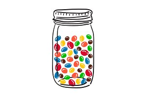 Glass Jar with candies.