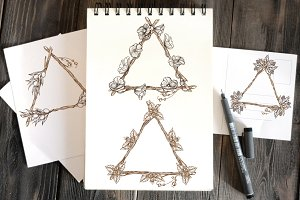 Triangular frame made of branches