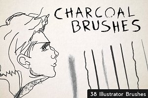 Set of 38 Charcoal Brushes