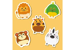 Cute african animals stickers