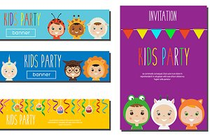 Kids party banner, flyer template