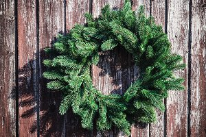 Christmas wreath on the wall