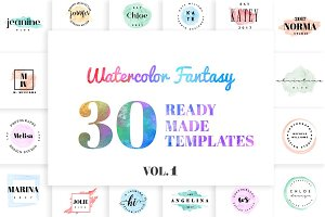Watercolor Fantasy Logo Kit Vol. 1