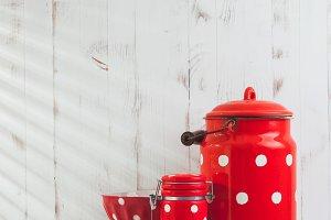 Red polka dot utensils