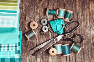 Blue Retro sewing