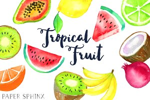 Watercolor Tropical Fruit Clipart