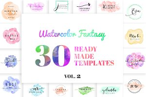 Watercolor Fantasy Logo Kit Vol. 2
