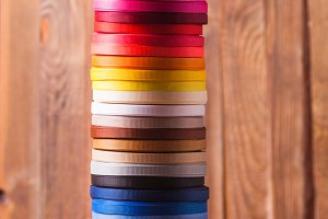ribbon bobbins on the table