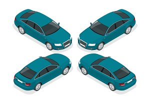 Flat 3d isometric high quality city sedan car icons set. Set of urban public transport. For infographics.