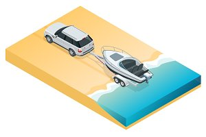 The SUV lowers the motor boat into the sea, the river or the lake. Summer vacation at sea and motor boat trips. Vector isometric icon or infographic element
