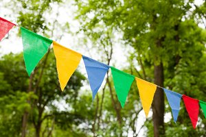 Color bunting flags