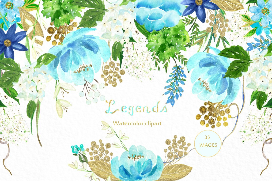 Gold and blue. Watercolor flowers. ~ Illustrations ~ Creative Market