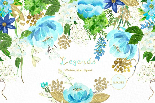 Gold and blue. Watercolor flowers.