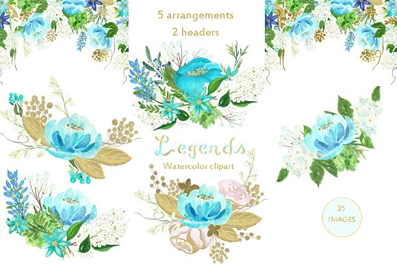 Gold And Blue Watercolor Flowers Illustrations Creative Market