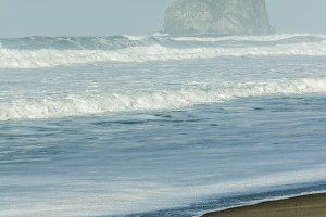 Haystack rock formation Pacific coast