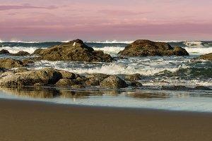 Coastal scene with waves and angry sky