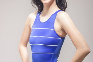 one young woman, swimmer swimsuit