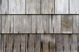 Weathered cedar shake roof shingles