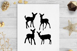 baby deer svg dxf cut files