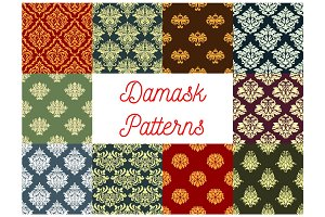 Floral patterns of seamless Damask flower tracery
