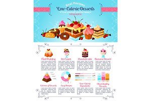Dessert or sweet food vector infographics template