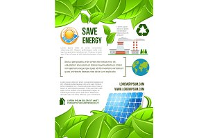 Green energy and nature ecology vector poster