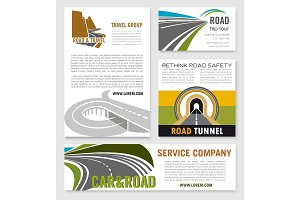 Road travel company vector business templates set