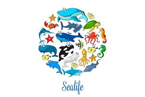 Sea ocean cartoon animals, fishes vector poster