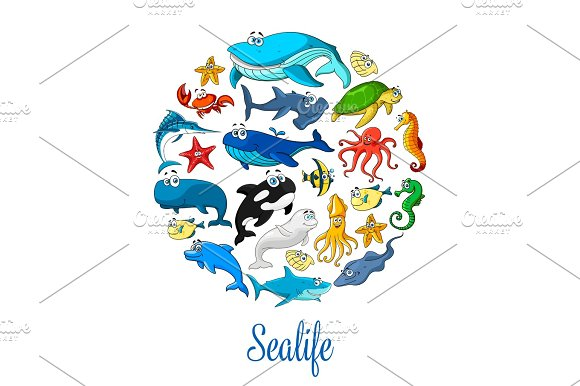 Sea Ocean Cartoon Animals Fishes Vector Poster