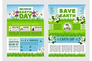 Earth Day, Save Planet information poster template