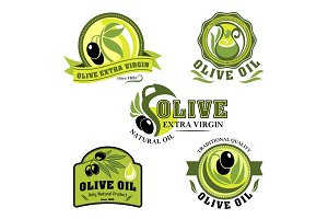 Olive oil vector icons for product labels