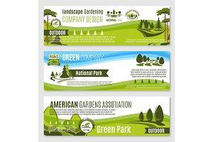 Gardening or green landscape design vector banners