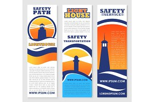 Lighthouse safety transportation vector banners