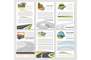 Road travel company vector posters set