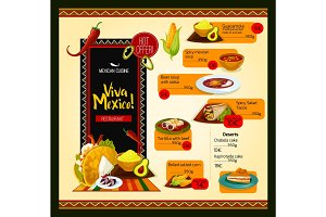 Mexican menu vector template for restaurant