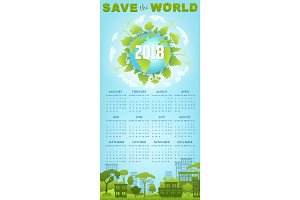 Ecology calendar template with green earth globe