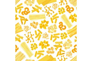 Pasta and Italian macaroni vector seamless pattern